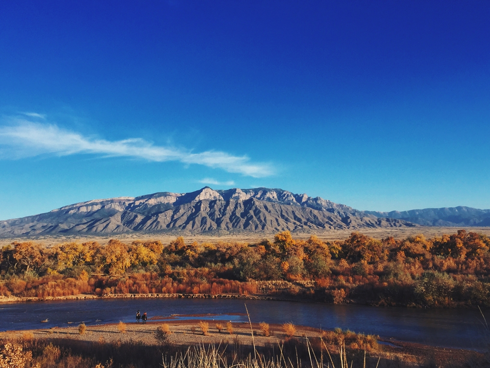 The Rio Grande in front of the Sandia Mountains