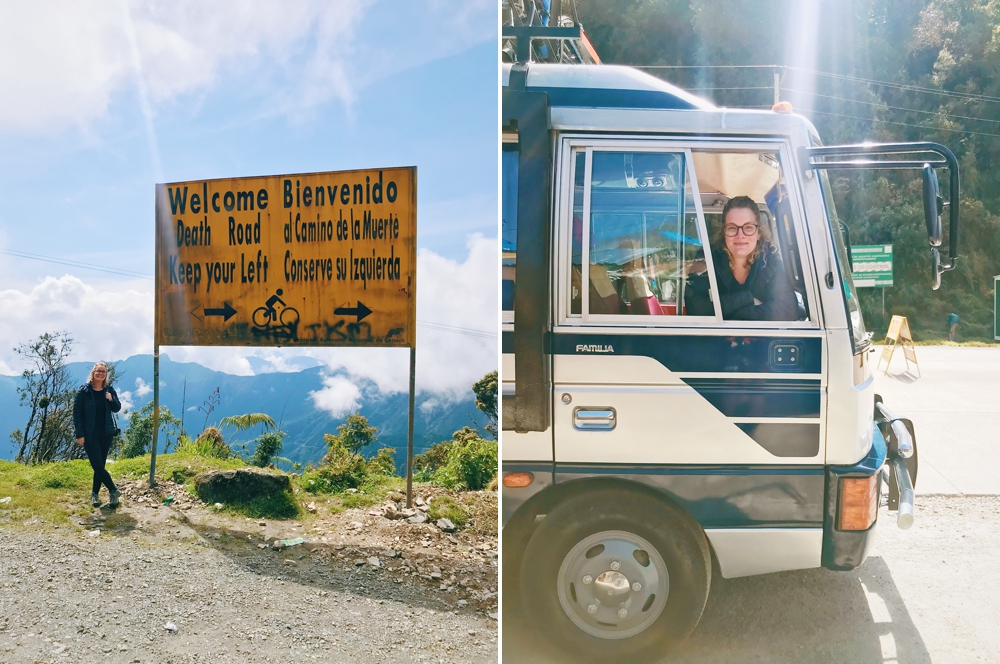 At the top of Death Road in Bolivia, sitting comfortably in my front seat.