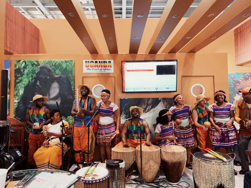 Uganda Booth at World Travel Market in London. Musicians, Singers & Dancers.