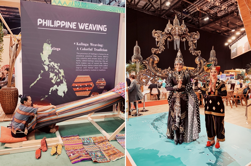 Traditional weaver weaving colorful patterns in Philippine's booth on the left. Man & Woman in ornate traditional Garb in Indonesia's Booth.